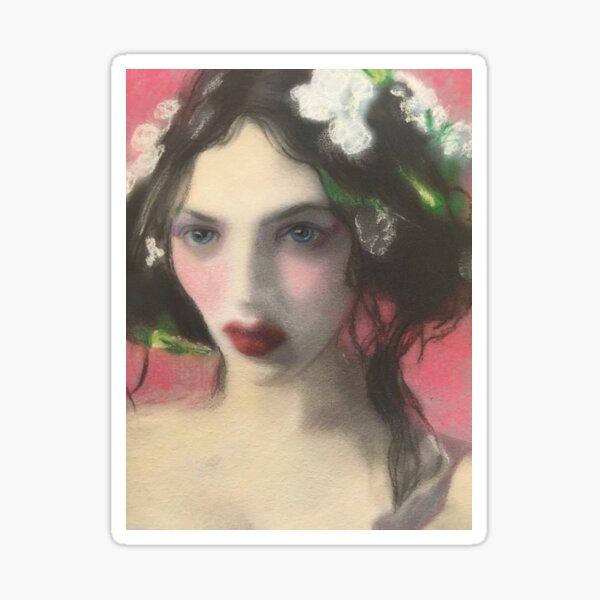 Brunette Floral Rose Fantasy Portrait Art Sticker
