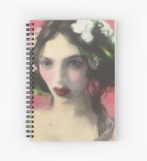 Brunette Floral Rose Fantasy Portrait Art Spiral Notebook