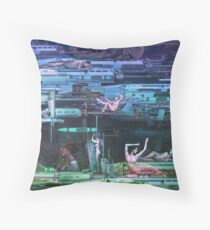 Krayola Section Papaya/Eggplant Throw Pillow