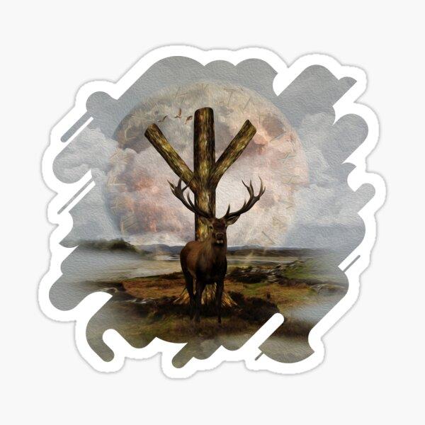 Algiz  Rune and Deer Digital Art Collage Sticker