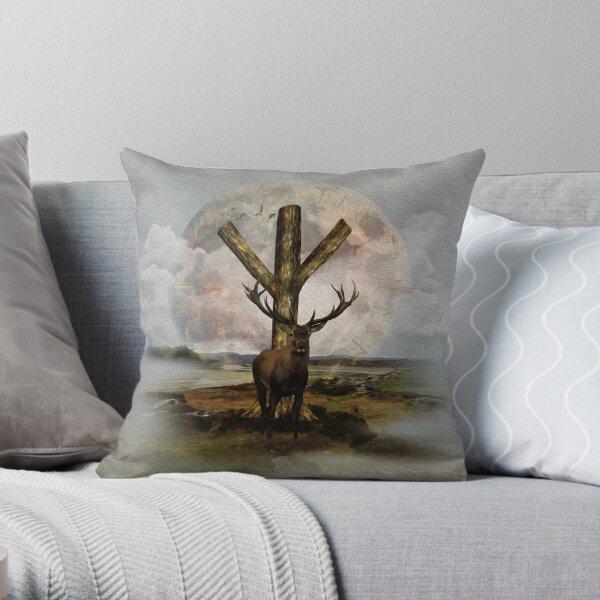 Algiz  Rune and Deer Digital Art Collage Throw Pillow