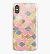 Silver Grey, Soft Pink, Wood & Gold Moroccan Pattern iPhone Case