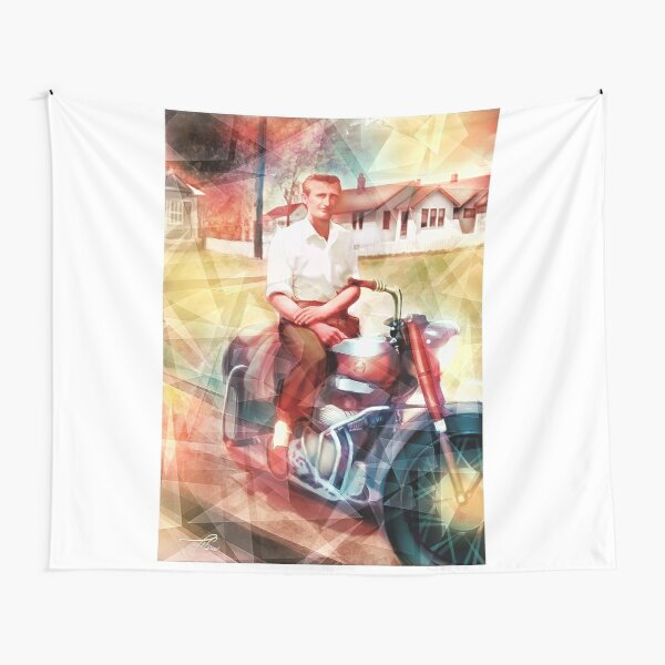 Swamp Music Players, timeless cool, Ariel Square Four motorcycle Tapestry