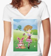 Easter Bunny and Girl Women's Fitted V-Neck T-Shirt