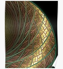 Abstract Rings Of green and Gold Poster