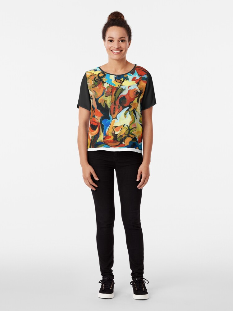 Alternate view of Abstract Musicians Painting Chiffon Top