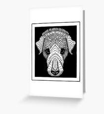 Puppy Dog Engraving style, cute sad portrait Greeting Card