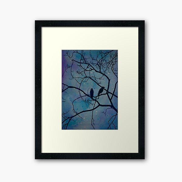 Night Birds and Watercolor Stars Framed Art Print