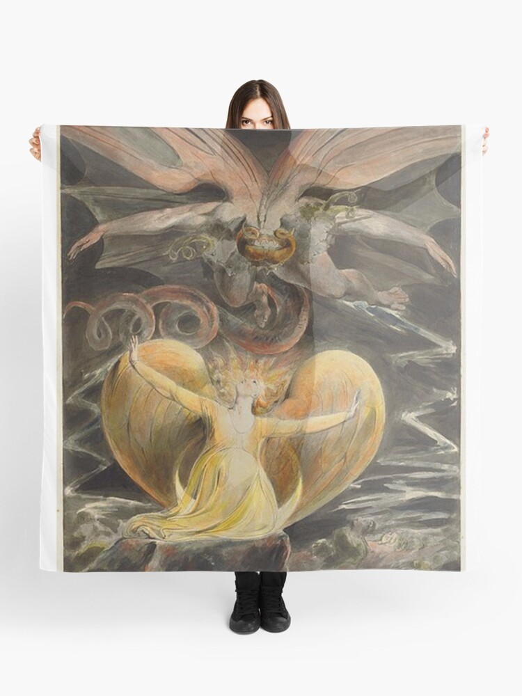 William Blake The Red Dragon and The Woman Clothed in Sun Vintage Print