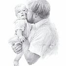 father and baby son drawing by Mike Theuer