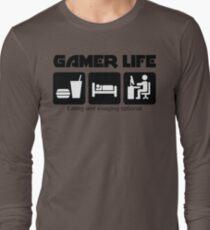eat sleep geek gaming gamer life Long Sleeve T-Shirt
