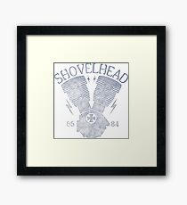 Shovelhead Motorcycle Engine Gerahmtes Wandbild