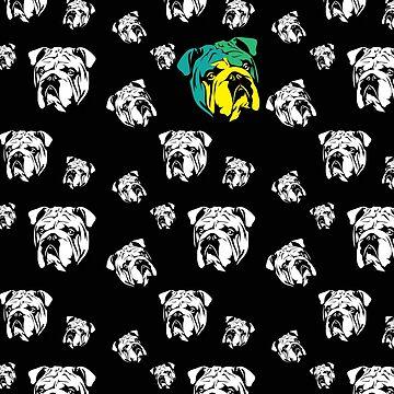 English Bulldog Black & White Pattern by fuseleven