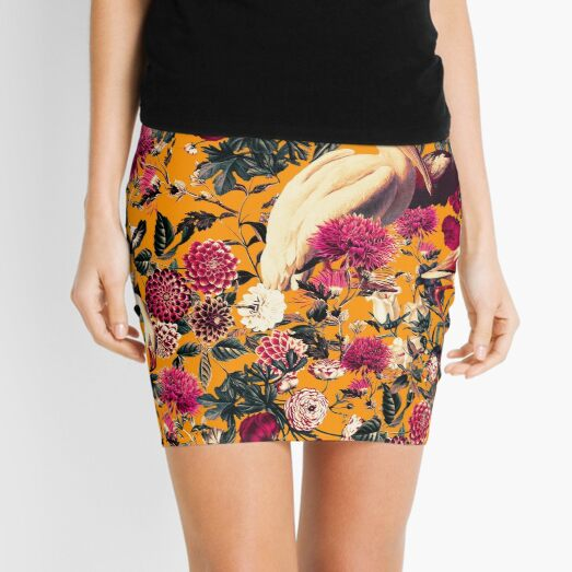 FLORAL AND BIRDS XVI Mini Skirt