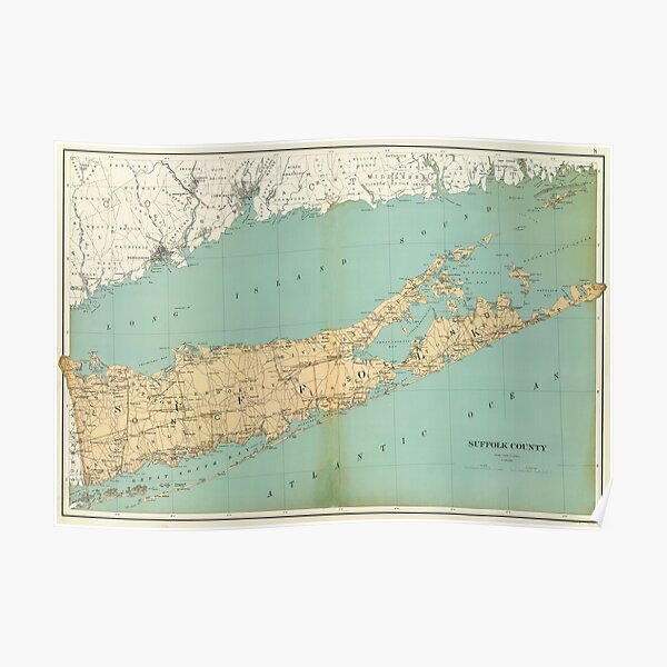 Vintage Map of Suffolk County NY (1895) Poster