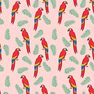 Macaw parrot tropical bird jungle animal nature pattern  by Andrea Lauren