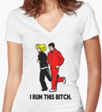 I Run This Bitch funny sayings Women's Fitted V-Neck T-Shirt