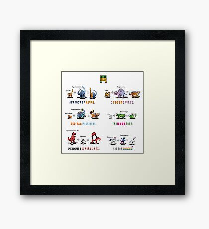Dinomals Cheat Sheet! Framed Print