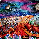 Inktober Mars Colony by NiamhWitch
