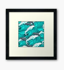 Sea waves with dolphins Framed Print