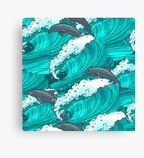 Sea waves with dolphins Canvas Print