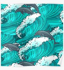 Sea waves with dolphins Poster