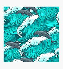 Sea waves with dolphins Photographic Print