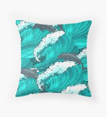 Sea waves with dolphins Throw Pillow