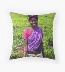 Tea garden picker, Manas, India Throw Pillow