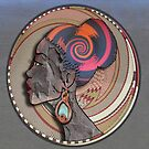 African Woman Profile in Bark on a Woven Basket by NadineMay