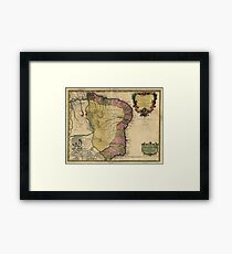 Vintage Map of Brazil (1719) Framed Print