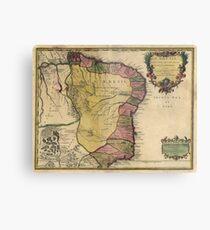 Vintage Map of Brazil (1719) Metal Print