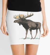 Vintage Moose Illustration Mini Skirt