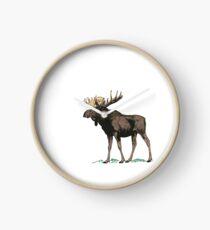 Vintage Moose Illustration Clock