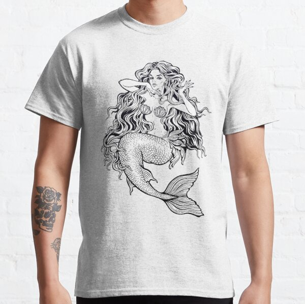 Beautiful mermaid girl with fairytale hair art. Classic T-Shirt
