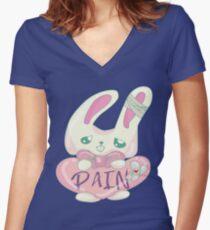 Kawaii Yami, Pastel Goth, Sad Girls Bunny Shirts Women's Fitted V-Neck T-Shirt
