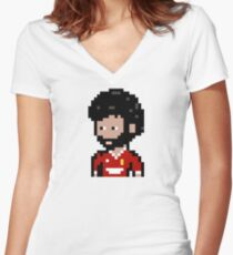 Mo Salah LFC (Pixel) Women's Fitted V-Neck T-Shirt