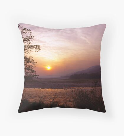 Sunset at the border of India and Bhutan Throw Pillow