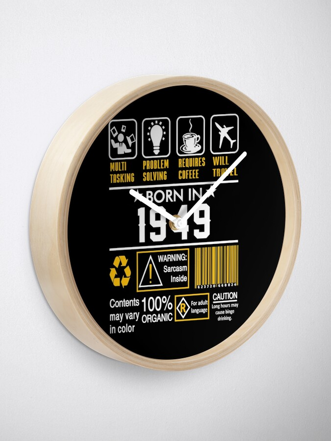 Alternate view of Birthday Gift Ideas - Born In 1949 Clock