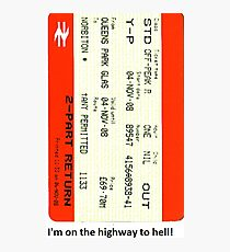 Glasgow train ticket ACDC Photographic Print