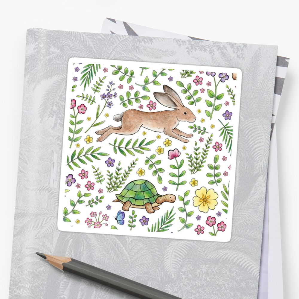 Spring Time Tortoises and Hares Sticker