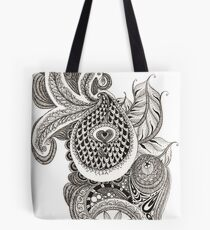 My Paisley Peacock Heart Tote Bag