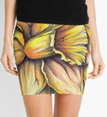 Daffodil - Bronze and Gold Accents (March Flower) Mini Skirt