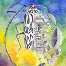 What is life? What is Death? n°9 Harlequin Beetle / Mushroom Watercolor Painting by Stephanie KILGAST