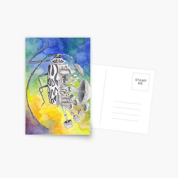 What is life? What is Death? n°9 Harlequin Beetle / Mushroom Watercolor Painting Postcard