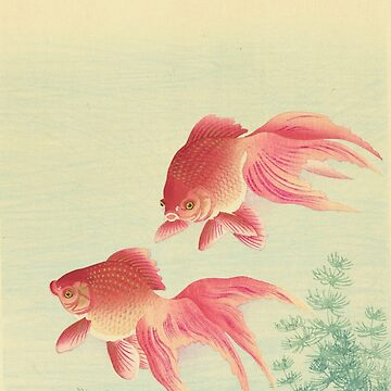 Vintage Red Fishes Japanese Watercolor  by DeLaMarina