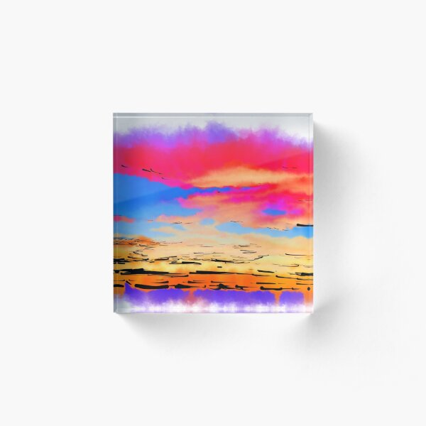 Colorful Abstract Sunset Acrylic Block