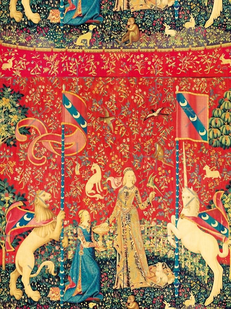 LADY AND UNICORN Taste, Red Green Fantasy Flowers,Animals by BulganLumini