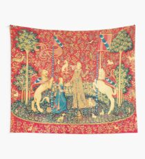 LADY AND UNICORN Taste, Red Green Fantasy Flowers,Animals Wall Tapestry