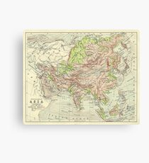 Vintage Map Of Asia - Physical 1920s Canvas Print